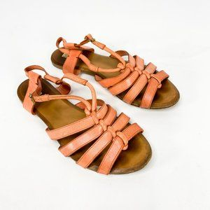 CHLOE Coral Leather Strappy Sandals Peep Toe